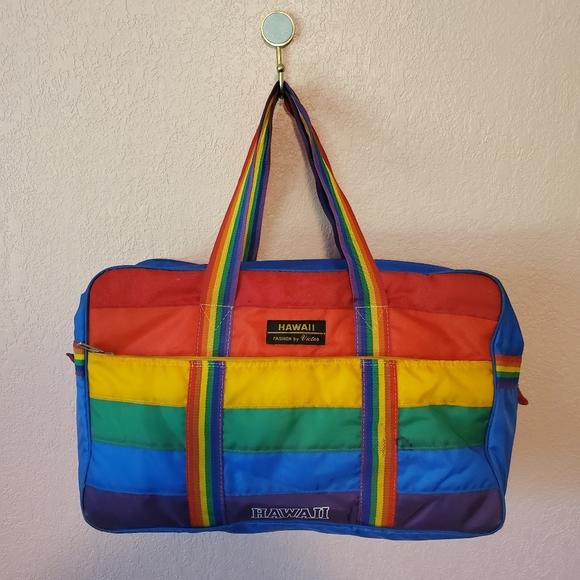 Vintage Hawaii Rainbow Stripe Insulated Duffle Bag